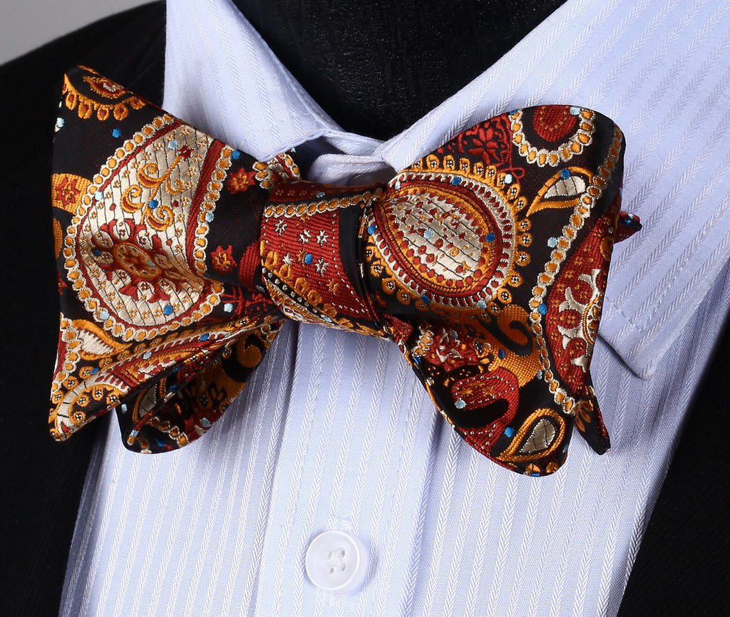 WW Signature Brown/ Orange Paisley Men Self Bowtie