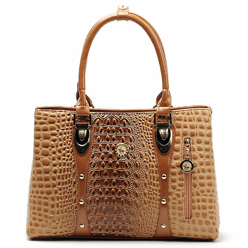 WW Women Luxury Crocodile Leather Tote Hand Bag