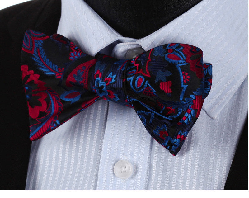 WW Classic Blue Red Floral Paisley Print Bowtie Men Silk Self Bow
