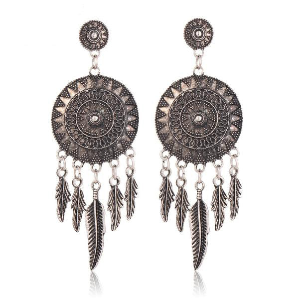 WW Women Dream Catcher Hollow out Vintage Leaf Feather Dangle Earrings