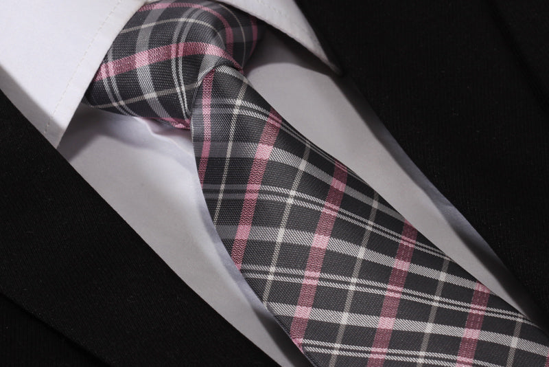 "WW Signature Gray, Pink and White Plaid 3.4"" Silk Woven Men Necktie"