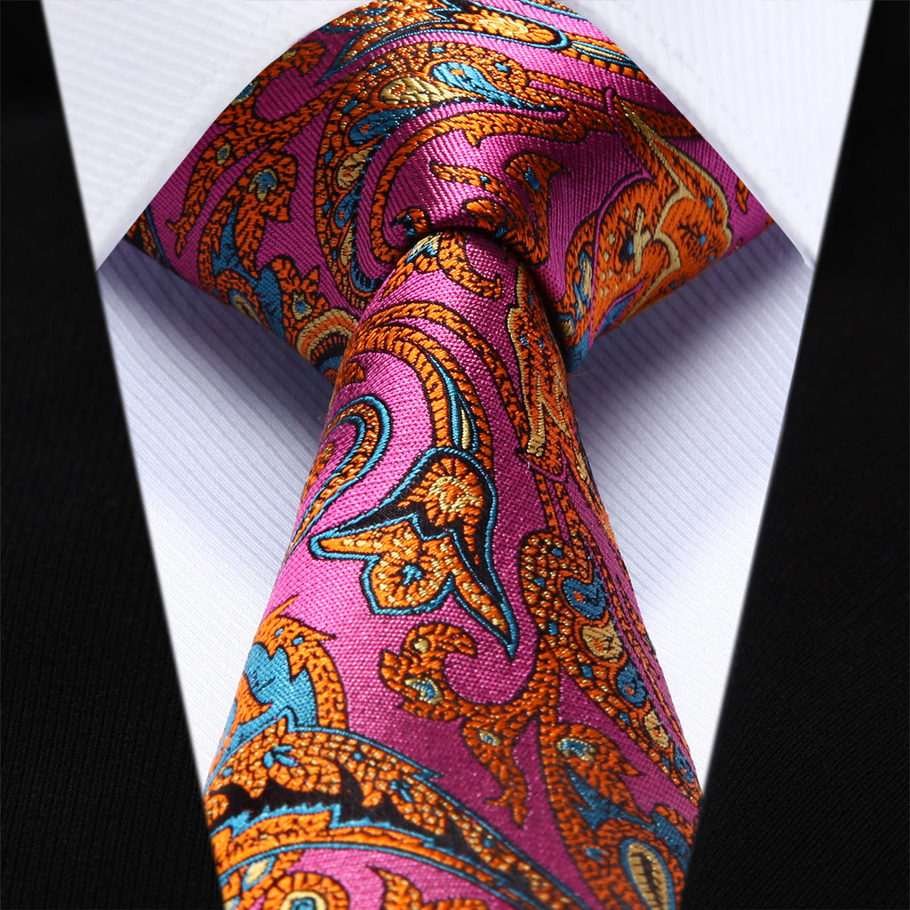 "WW Signature Pink and Orange multi colored Paisley 3.4"" Silk Woven Men Necktie with matching cufflinks and pocket square"