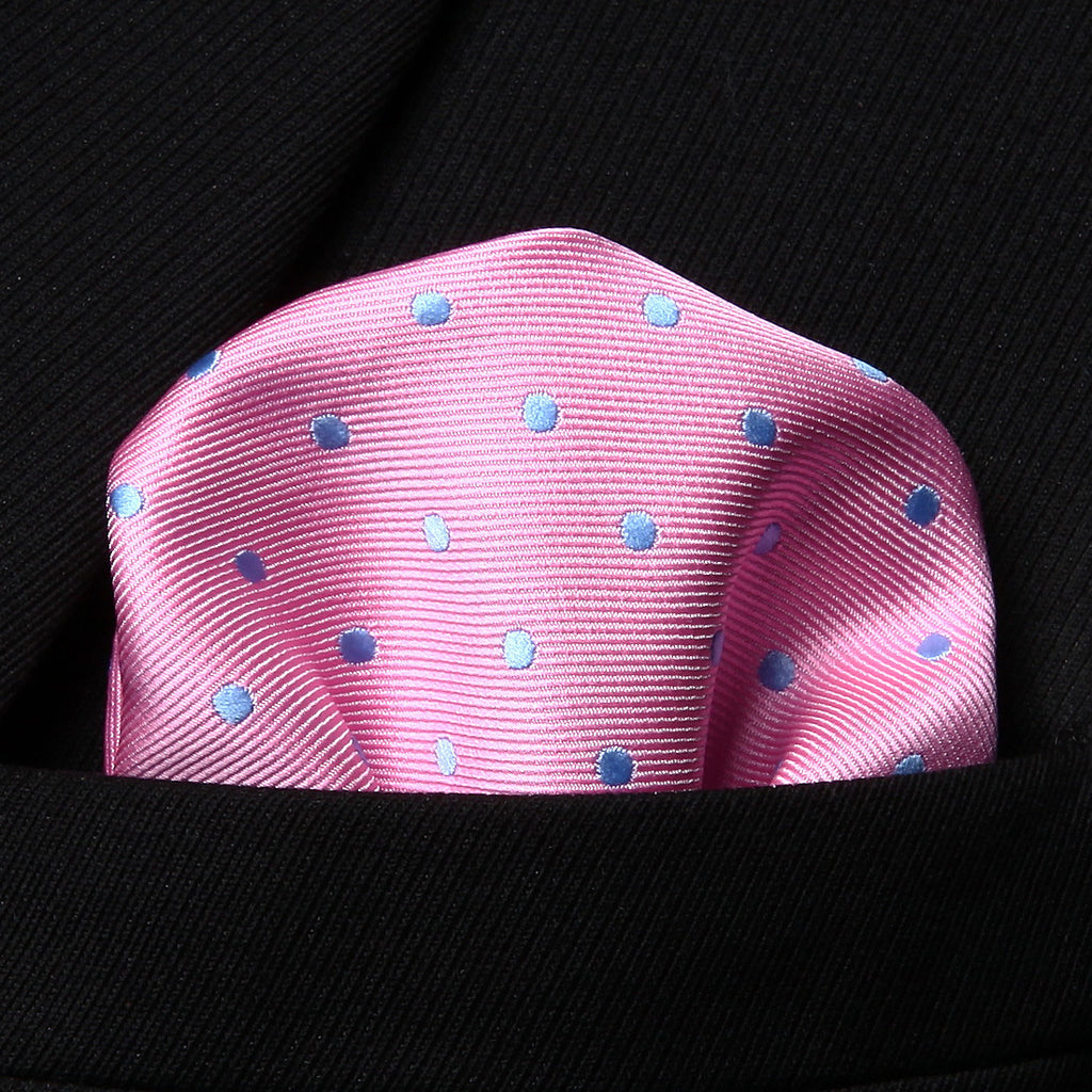 WW Signature Pink with Blue Polka Dot Silk Woven Men Handkerchief / Pocket Square