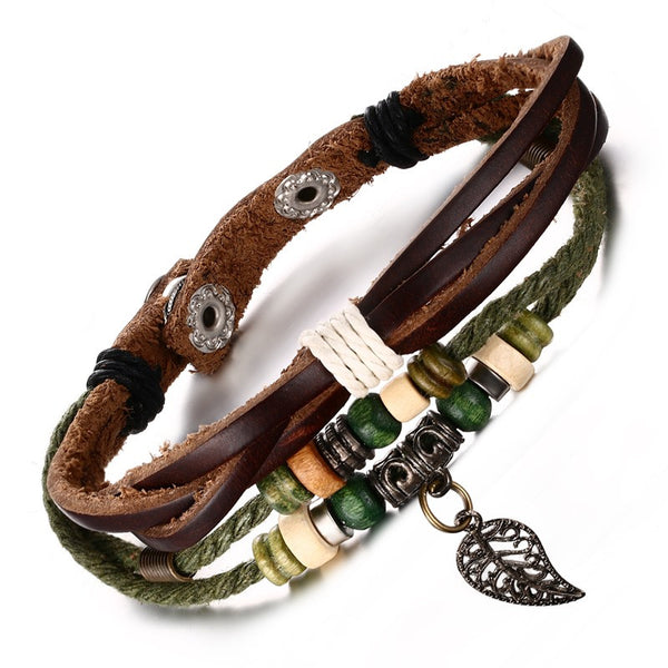 WW Unisex Brown Genuine Leather Bracelet with Stainless Steel Clasp For Men and Women