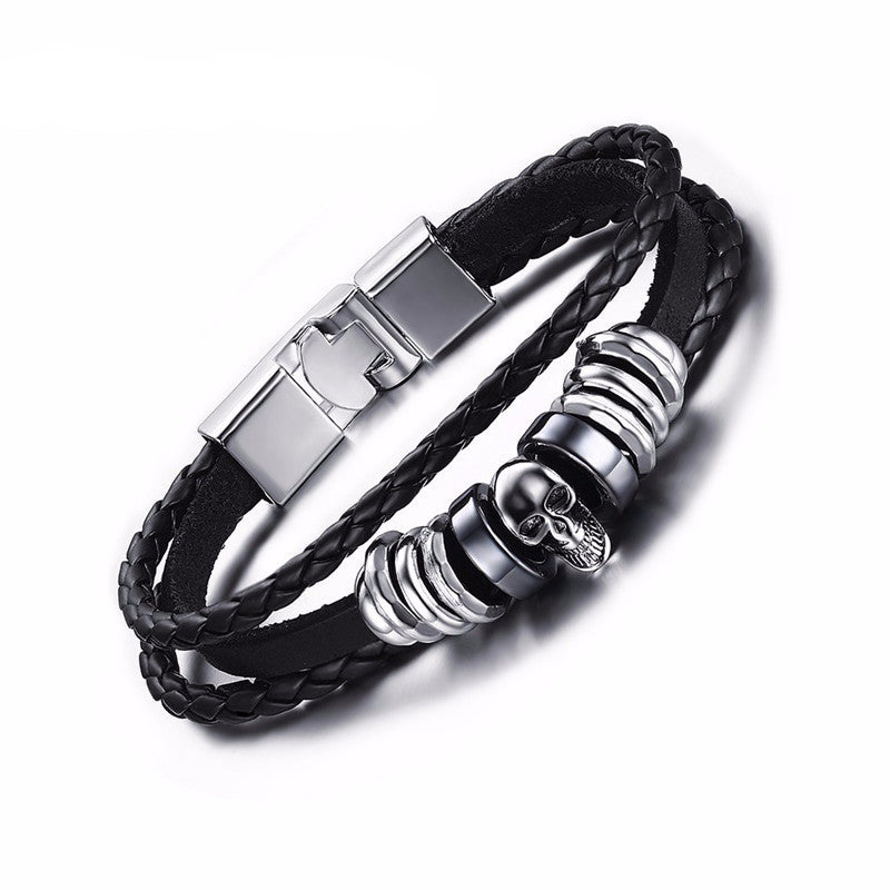 WW Men's Leather Skull Bracelets Rock Punk Stainless Steel Skeleton Charms