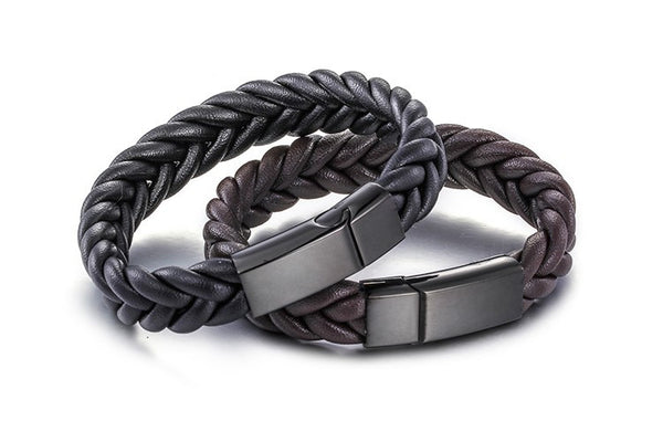 WW New Arrival Men Leather Wristband Vintage Bracelets With Stainless Steel Magnetic Clasp