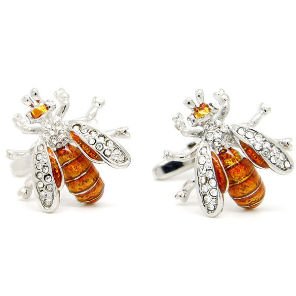 WW Rare Exquisite Novelty Bee Shape Cufflinks Crystal Cuff Links