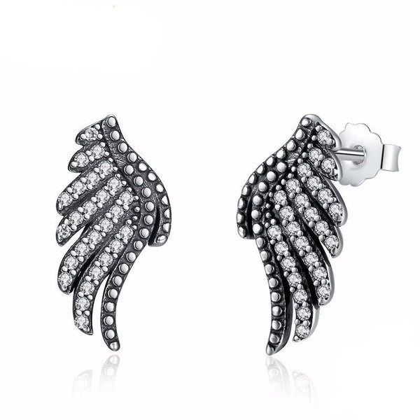 WW Women Sterling Silver Majestic Feathers Phoenix-Wing Stud Earrings With White Clear CZ PAS426