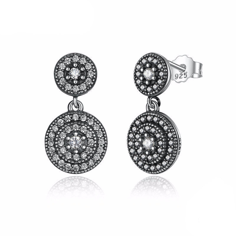 WW Women 925 Sterling Silver Radiant Elegance Earrings Clear CZ Crystals Surrounded Ancient Silver