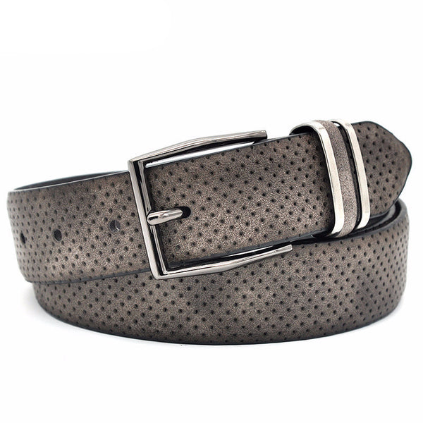 WW Fashionable Dot Style Split Leather Men Dress Belt with Gun Metal Buckle