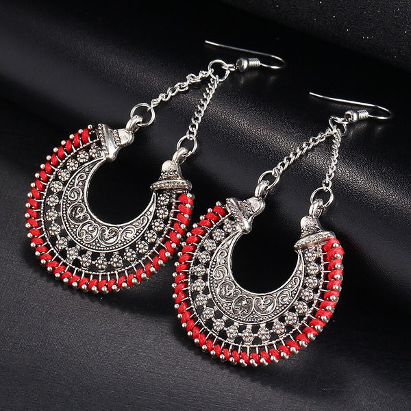 WW Long Statement Ethnic Bohemian Drop Earrings Vintage