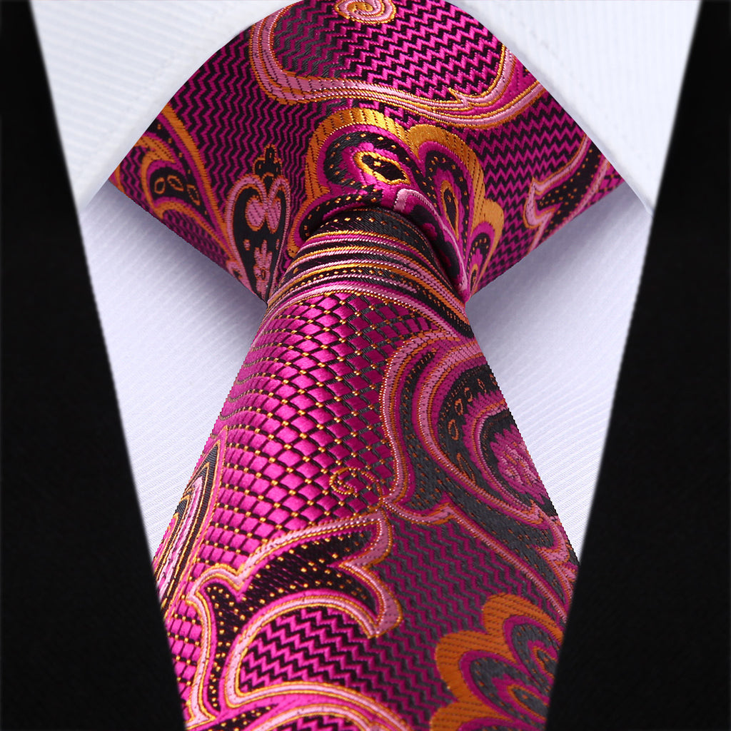 "WW Signature Pink and Orange Paisley 3.4"" Silk Woven Men Necktie"