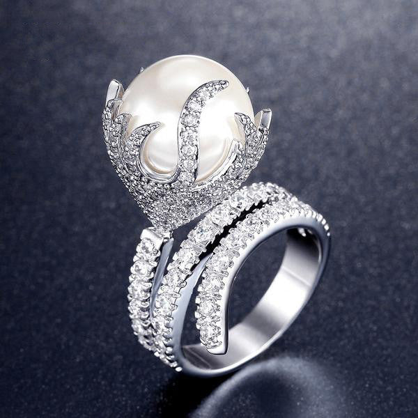 WW Women Ultra Big Synthetic Pearl Fire Shaped Rings