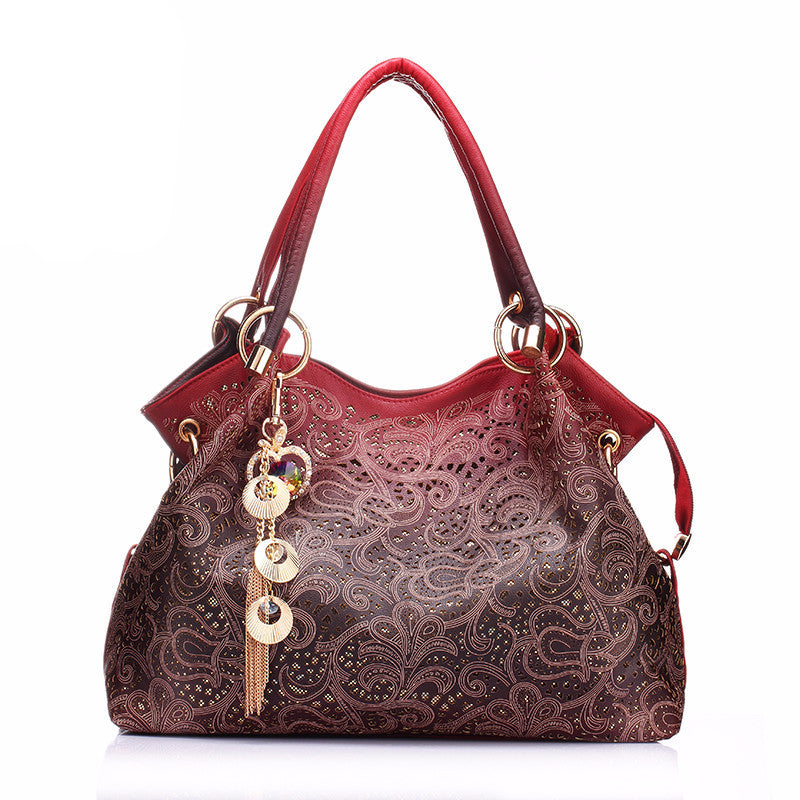 WW Women Hollow Floral Print PU Leather Handbag / Shoulder bags red/gray/blue