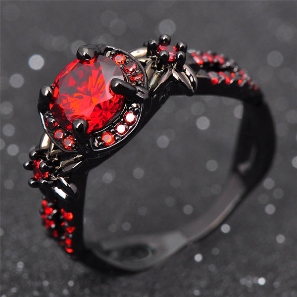 WW Fashion Flower Shiny Red Garnet Ring With Black Accents For Women