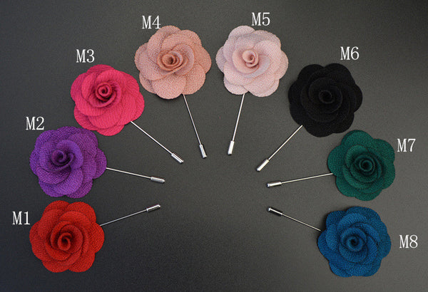 WW Floral Rose Lapel Pin/ Brooch made of Multilayer Handmade Fabric