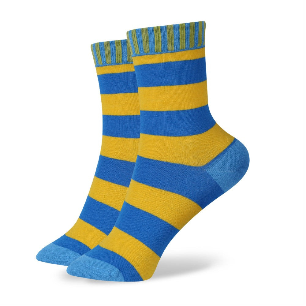WW Multi Color Stripe Cotton Knit Socks For Women