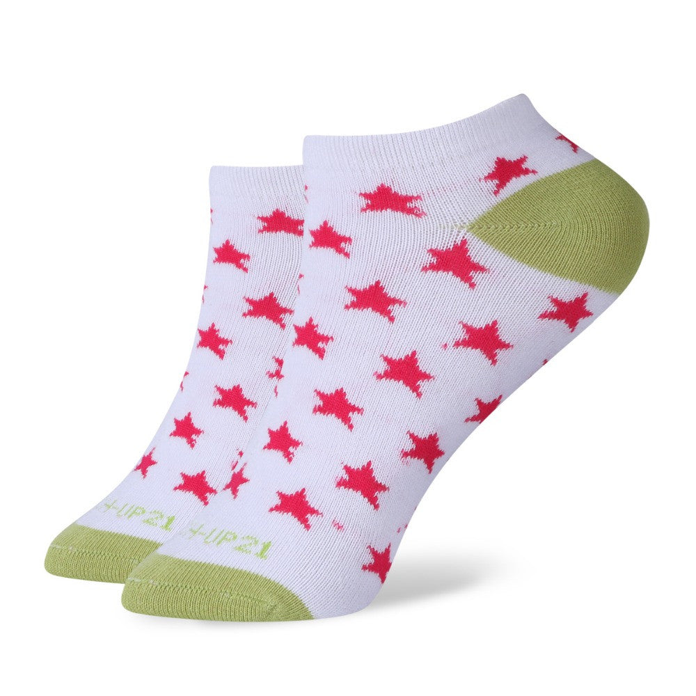 WW Multi Color Star Short No Show Ankle Cotton Knit Socks For Women