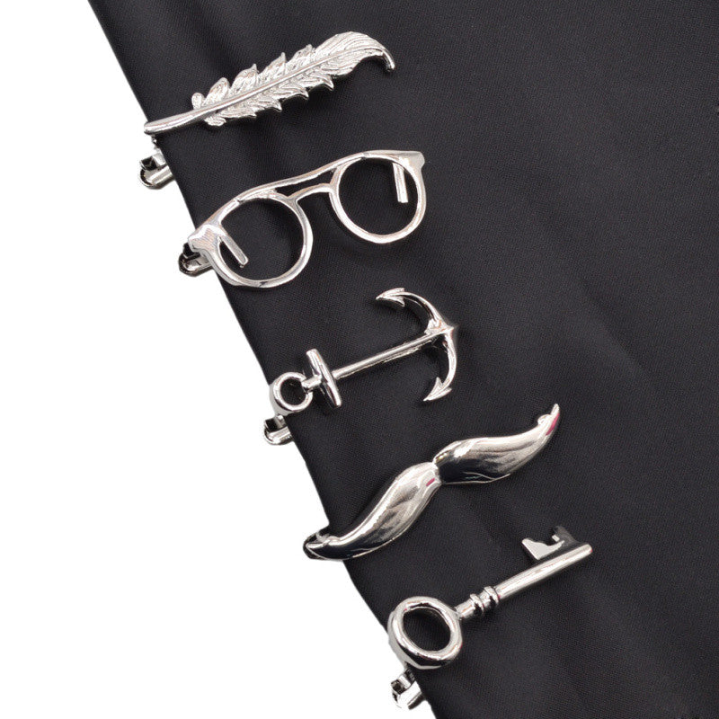 WW 1 piece Feather, Glasses, Anchor, Mustache and Key Shape Metal Tie Clip for Men