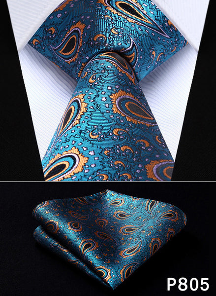 "WW Signature Teal, Orange and Black Paisley 3.4"" Silk Woven Men Necktie"