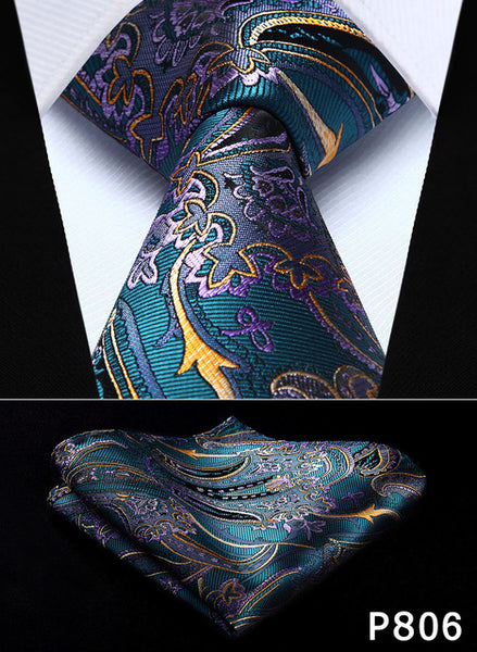 "WW Signature Teal, Purple, Orange and Black Paisley 3.4"" Silk Woven Men Necktie"