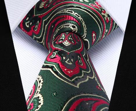 "WW Signature Red, Green, Cream Festive Christmas Necktie Paisley 3.4"" Silk Woven Men Necktie"