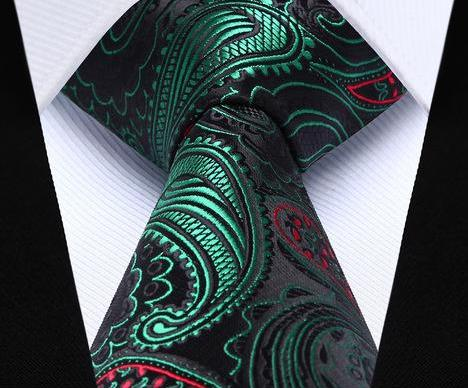 "WW Signature Green Paisley, Black, Red 3.4"" Silk Woven Men Christmas Necktie"
