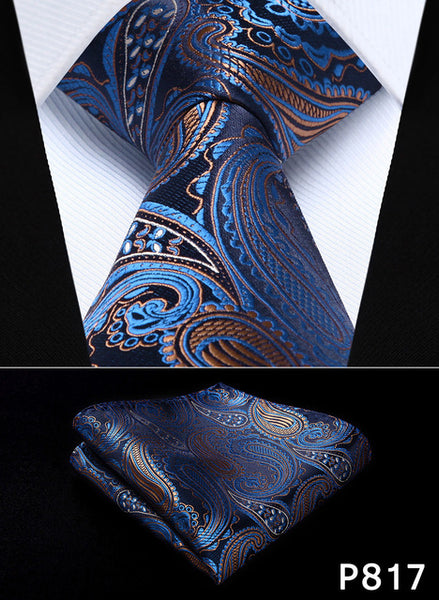 "WW Signature Blue, Pink, Black, and Cream Paisley 3.4"" Silk Woven Men Necktie"