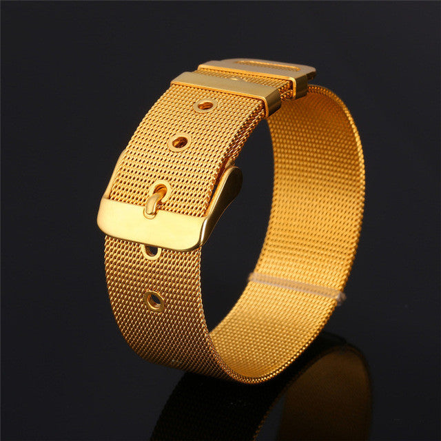 WW Watch Band Stainless Steel Yellow Gold Plated Bracelet For Men