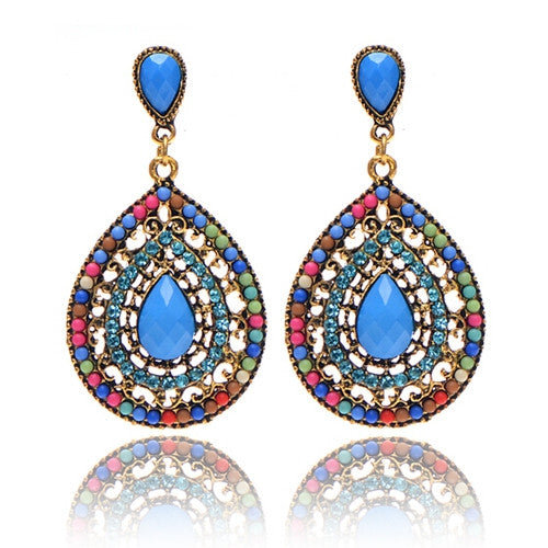 WW Women Vintage Bohemian beads heart pendant drop earrings