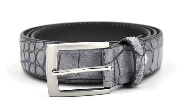 WW Mens Crocodile Pattern Belts With Split Leather