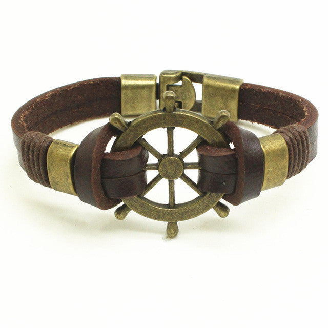 WW Trendy Leather Rope Handmade Double Layer Bracelet With Sailors Wheel Charm