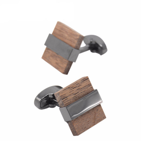 WW Low-key Luxury Wood Cufflinks Brown Black Mashup