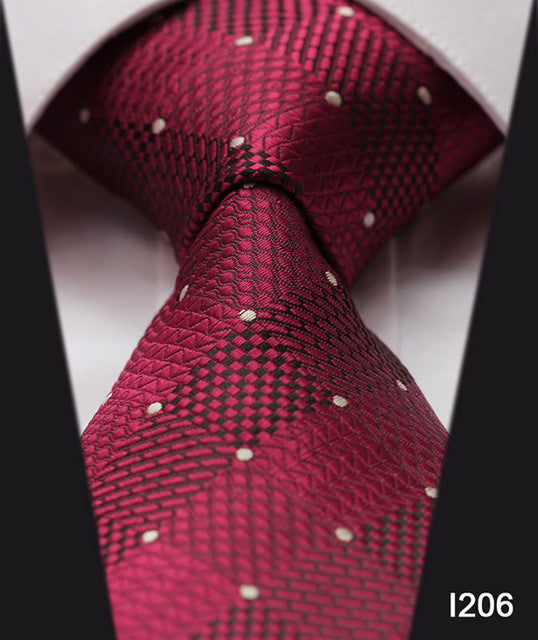 "WW Burgundy Square Pattern with White Polka Dot Print 3.4"" Classic Necktie 100% Silk Men Self Tie Necktie"