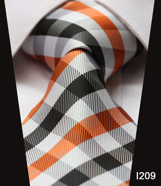 "WW Signature Black, Orange and White Checkered Plaid Print 3.4"" Classic Necktie 100% Silk Men Self Tie Necktie"