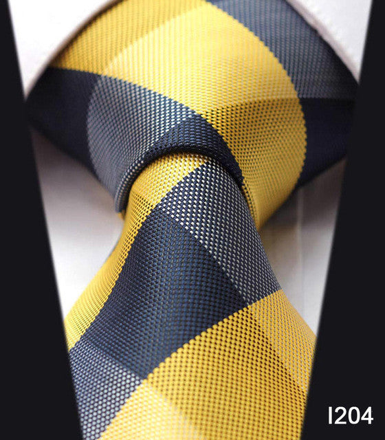 "WW Signature Yellow and Black Square Plaid Print 3.4"" Classic Necktie 100% Silk Men Self Tie Necktie"