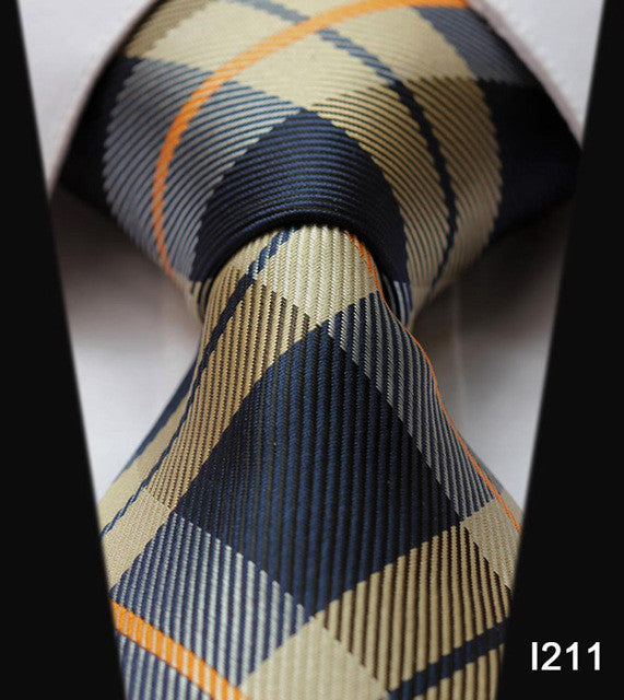 "WW Signature Blue and Tan Plaid Print 3.4"" Classic Necktie 100% Silk Men Self Tie Necktie"