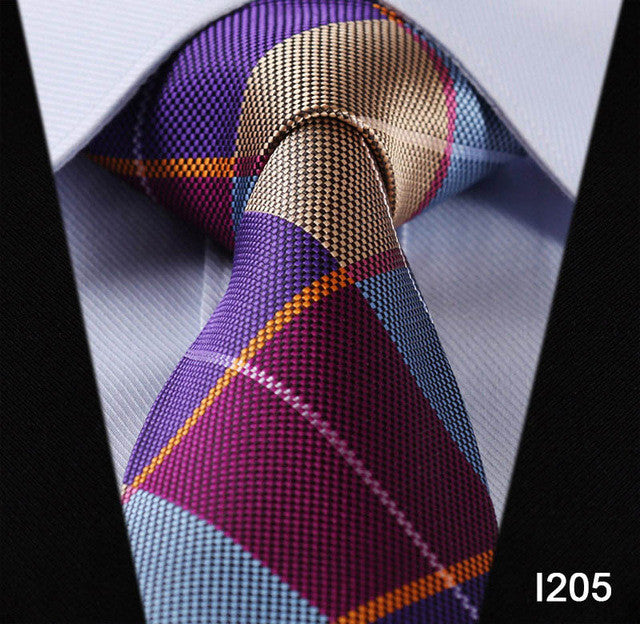 "WW Signature Multi Color Plaid Print 3.4"" Classic Necktie 100% Silk Men Self Tie Necktie"