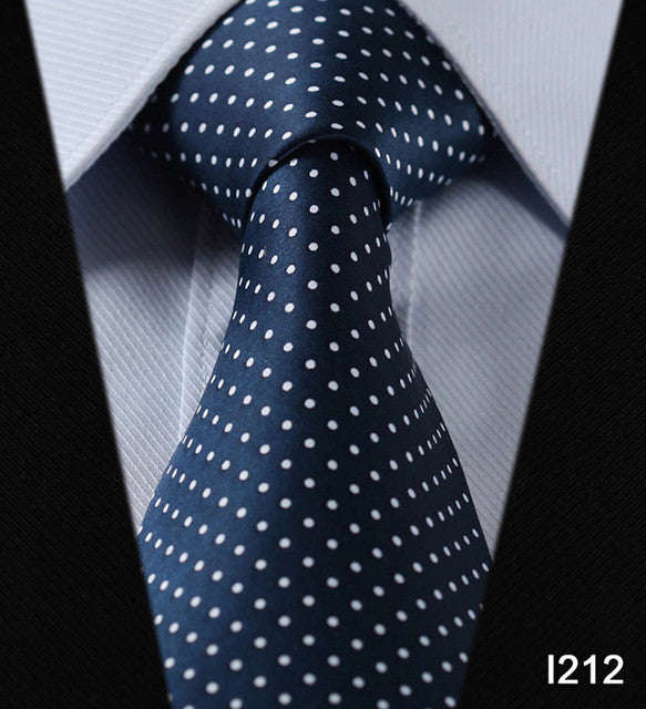 "WW Signature Blue with White Polka Dot Print 3.4"" Classic Necktie 100% Silk Men Self Tie Necktie"