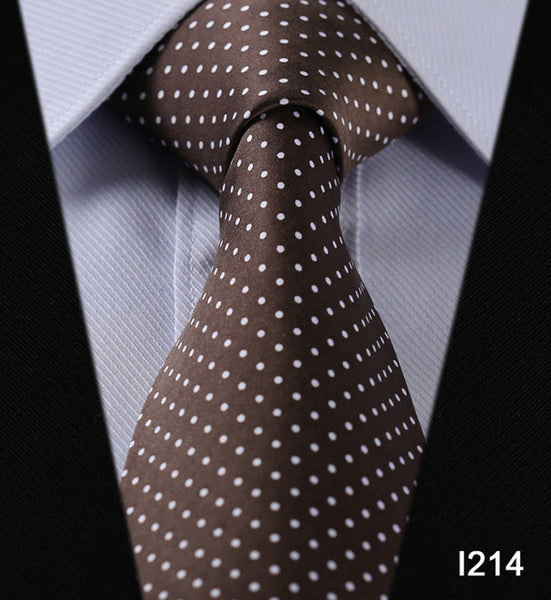 "WW Signature Brown with White Polka Dot Print 3.4"" Classic Necktie 100% Silk Men Self Tie Necktie"