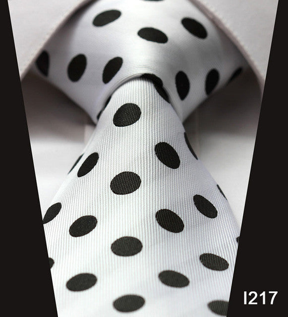 "WW Signature White with Black Polka Dot Print 3.4"" Classic Necktie 100% Silk Men Self Tie Necktie"