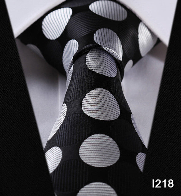 "WW Black with White Large Polka Dot Print 3.4"" Classic Necktie 100% Silk Men Self Tie Necktie"