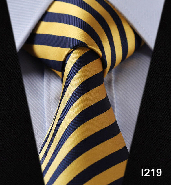 "WW Blue and Yellow Stripe Print 3.4"" Classic Necktie 100% Silk Men Self Tie Necktie"