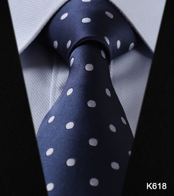 "WW Blue with White Polka Dot Print 3.4"" Classic Necktie 100% Silk Men Self Tie Necktie"