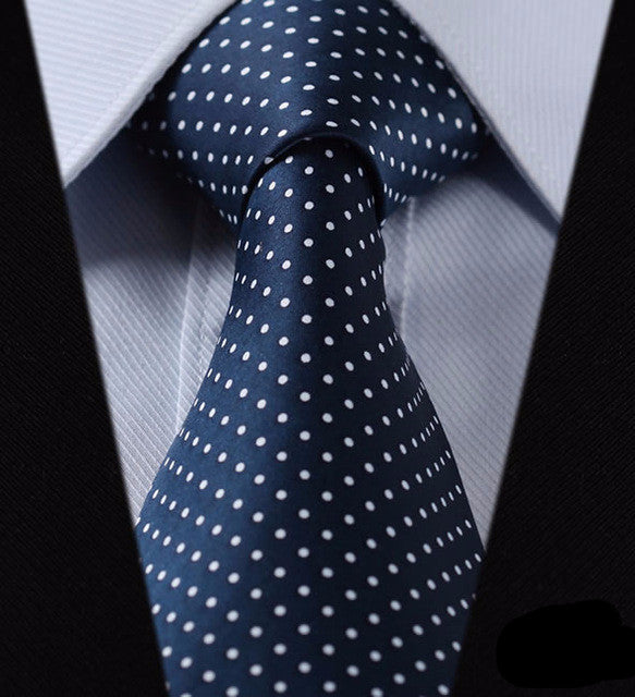 "WW Blue and White Small Polka Dot Print 3.4"" Classic Necktie 100% Silk Men Self Tie Necktie"