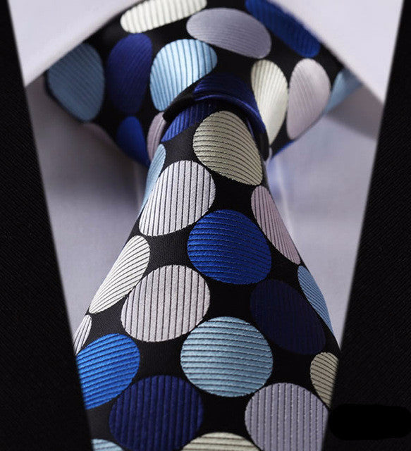 "WW Blue Multicolor Polka Dot Print 3.4"" Classic Necktie 100% Silk Men Self Tie Necktie"