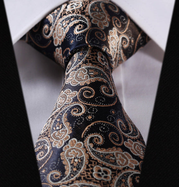 "WW Blue and Gold Paisley Print 3.4"" Classic Necktie 100% Silk Men Self Tie Necktie"