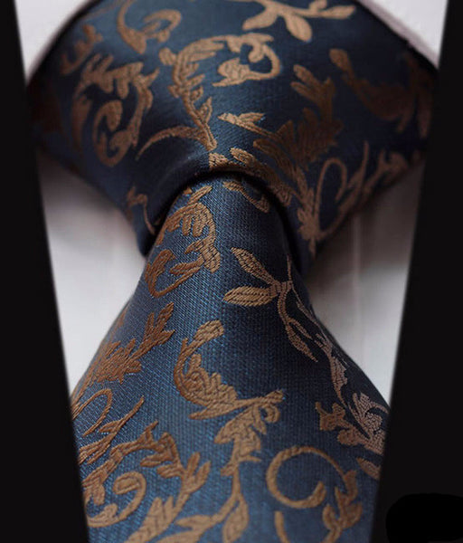 "WW Blue and Brown Floral Print 3.4"" Classic Necktie 100% Silk Men Self Tie Necktie"