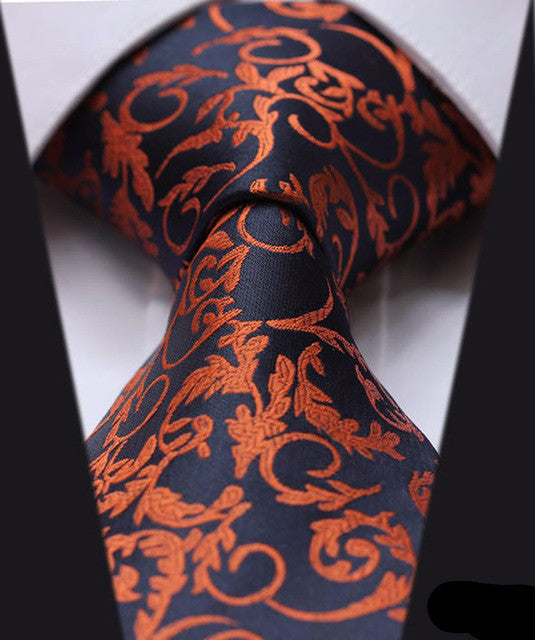 "WW Blue and Orange Floral Print 3.4"" Classic Necktie 100% Silk Men Self Tie Necktie"