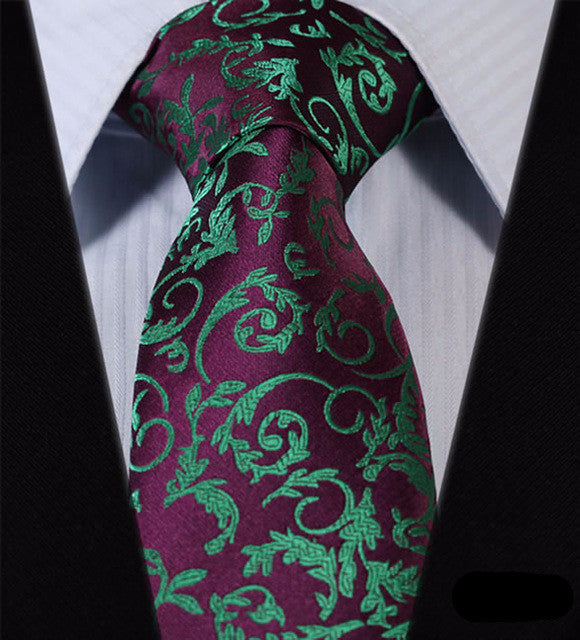 "WW Purple and Green Floral Print 3.4"" Classic Necktie 100% Silk Men Self Tie Necktie"